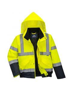 Hi-Vis Bomber Jacket, Navy/Yellow Small